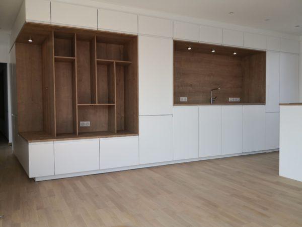 Ensemble cuisine – meuble tv bois et blanc