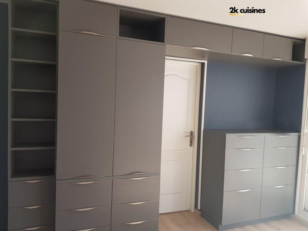 Amenager Un Placard Existant meuble rangement tv - sur-mesure - tiroir - 2k cuisines